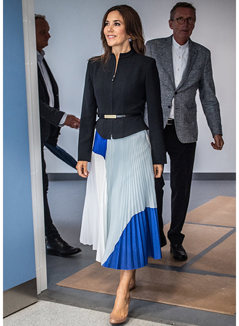 Meghan & Princess Mary Contrast Panel Pleated Midi Skirt