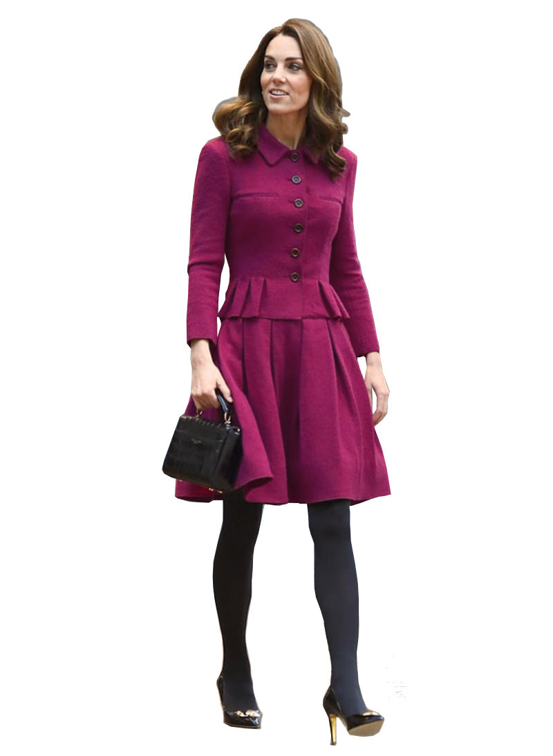 Kate Two-piece Fit-and-Flared Jacket & Pleated A-line Skirt Set