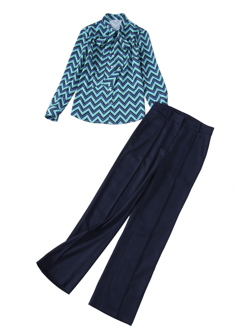 Kate Pansy Pussybow Chevron Blouse & Wide-leg Pants