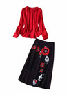 Queen Letizia Pintuck Red Blouse & Black Poppy-print Skirt Set