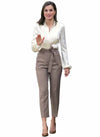 Queen Letizia Pintuck White Blouse & Self-tie High-waisted Trousers