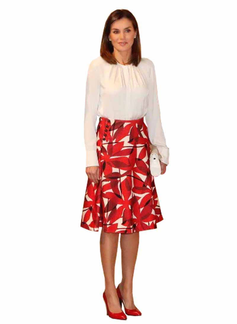 Queen Letizia Pintuck White Blouse & Abstract High Waist Skirt
