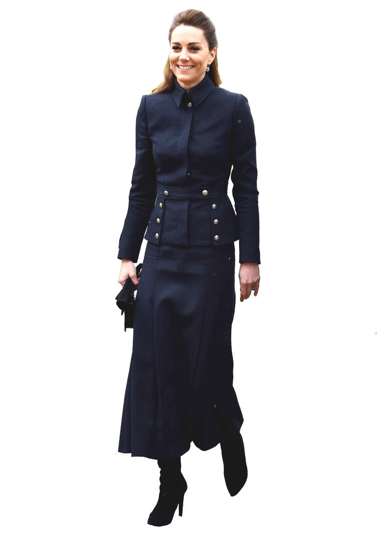 Kate Military-Style Blazer & A-line Midi Skirt Set in Navy