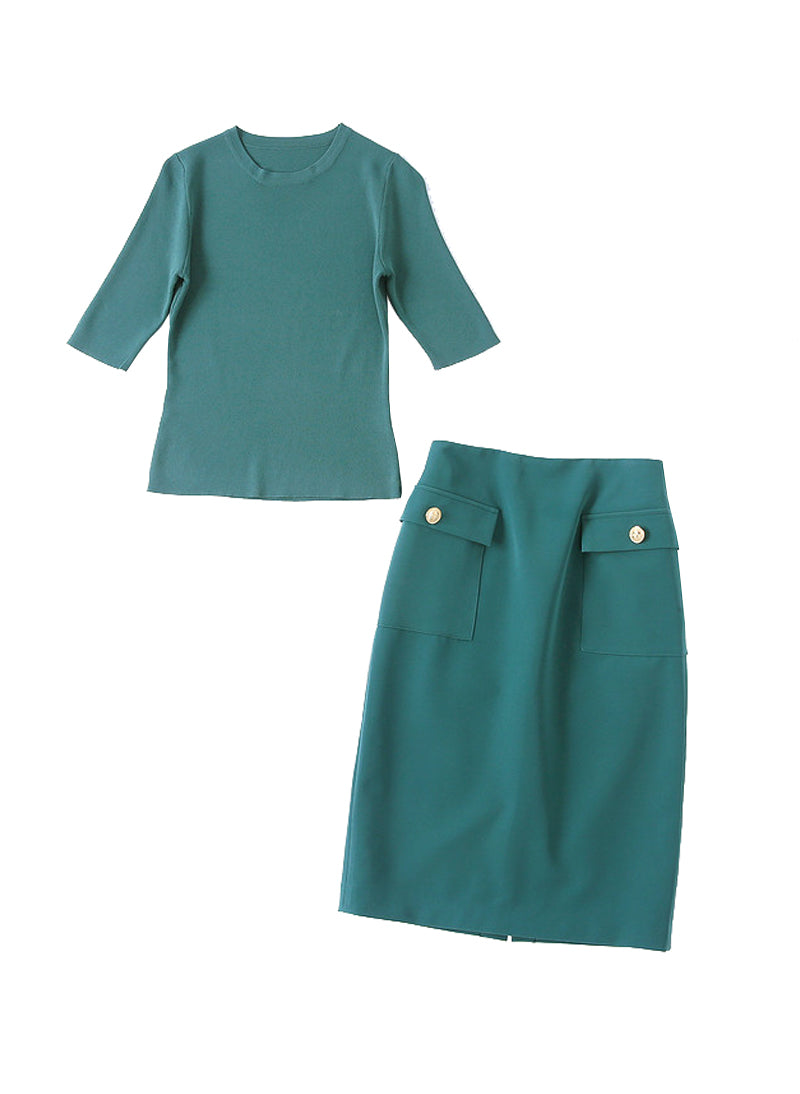 Meghan Crewneck Knit Top & Patch Pockets Pencil Skirt Co-ord