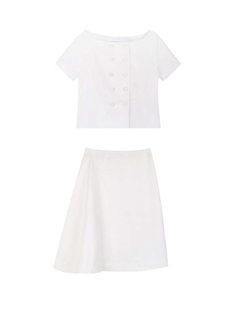 Meghan Double Breasted Belted Top & Asymmetrical Skirt Set