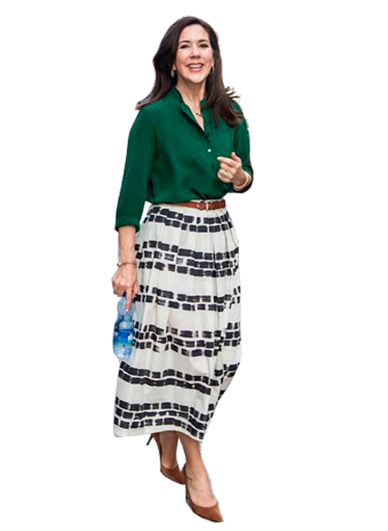 Princess Mary Green Blouse & Paper-bag Midi Skirt Co-ords