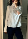 Princess Mary High Neck Flared Sleeve Blouse in White