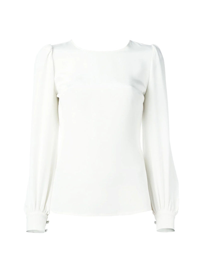 Kate Round Neck Puffy Shoulder Blouse in White
