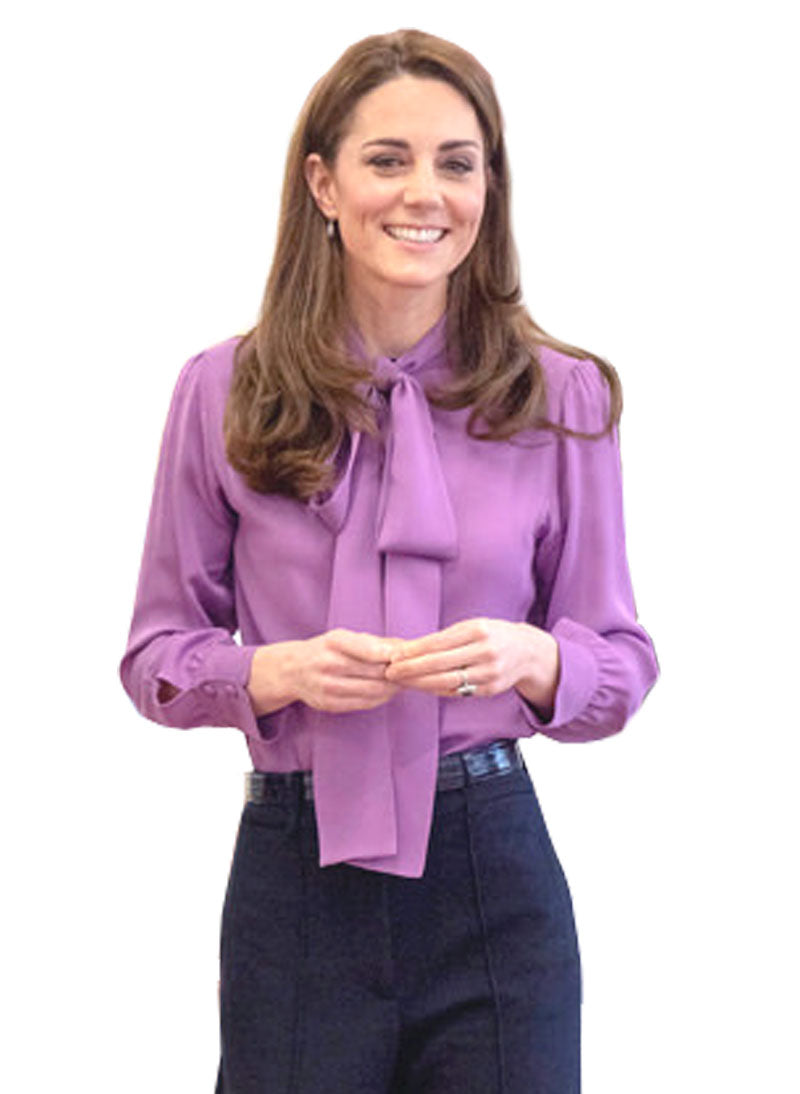 Kate Tuxedo Pussy-bow Crepe Blouse in Lavender