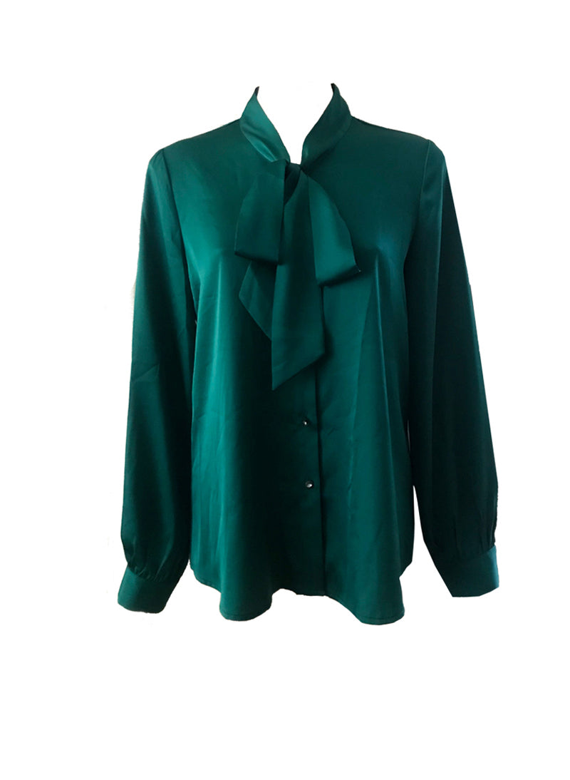 Princess Mary Peacock Green Pussy-bow Blouse