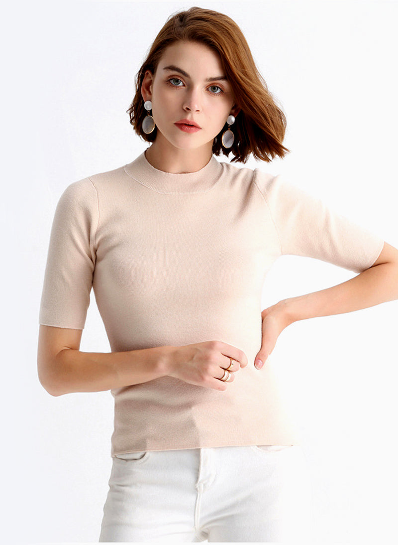 Meghan Light Wool Crew Neck Knit Top