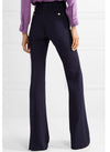 Kate High Waisted Flared Wide-leg Trousers in Navy