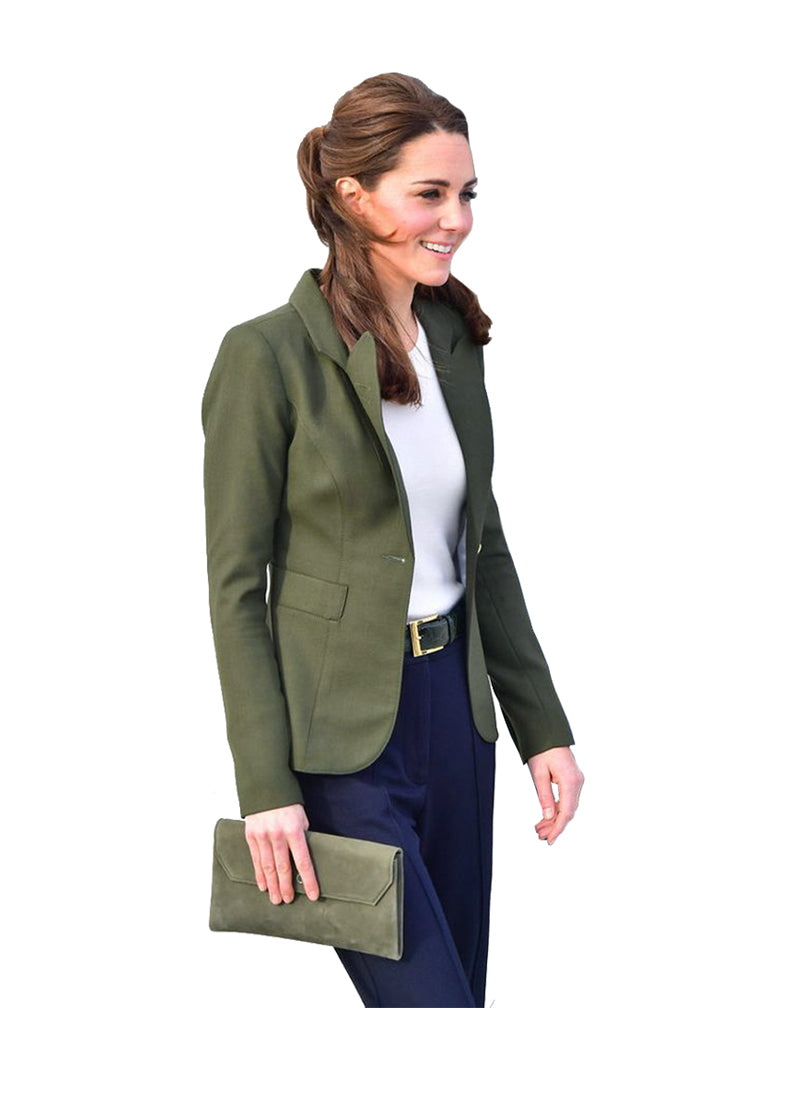 Kate One Button Tailored Duchess Blazer in Olive Green