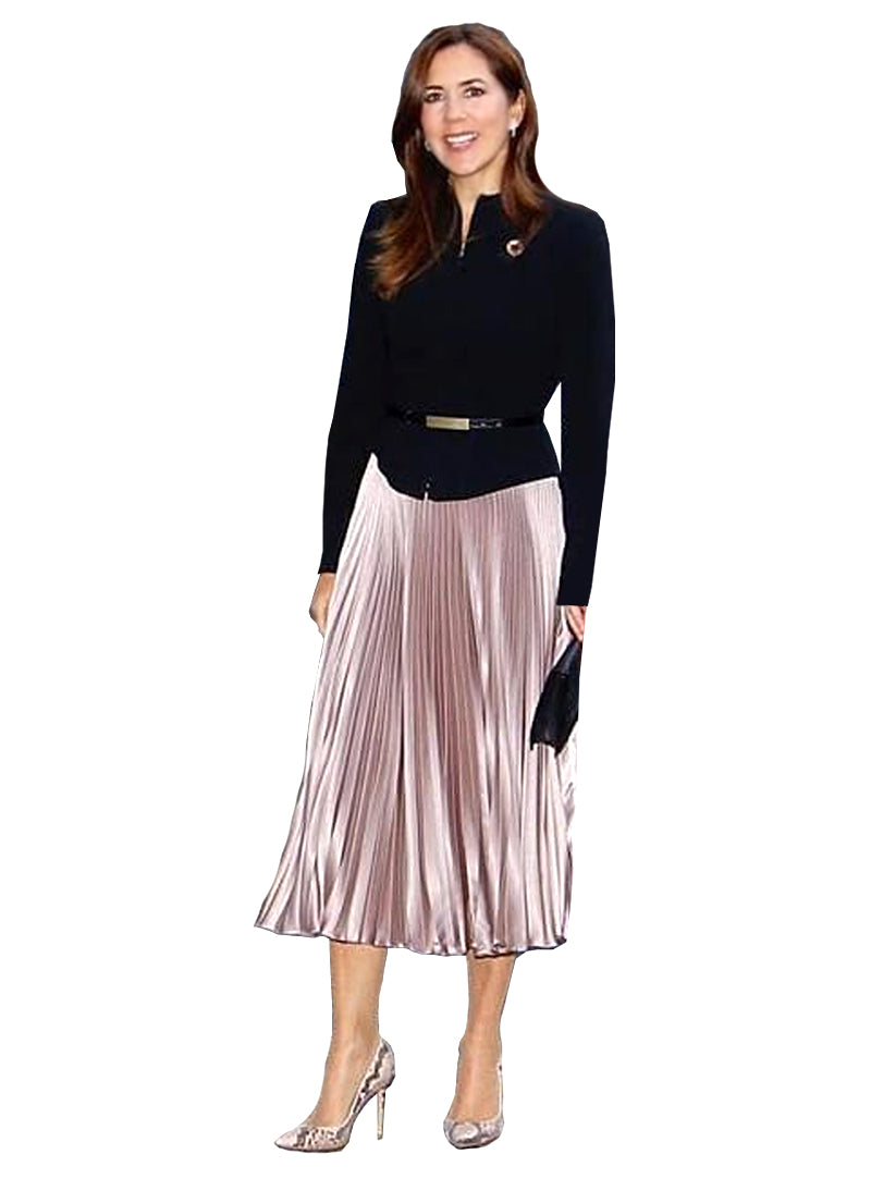 Princess Mary High Waisted Metallic Pleated Midi Skirt