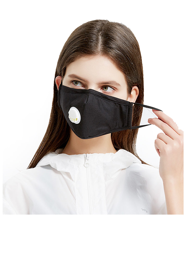 Ear Loop Reusable Cotton Mask with Valve & 2 x Carbon PM2.5 Filters