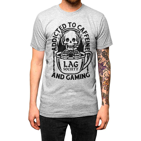 Addicted to Caffeine and Gaming'	Shirt Athletic Grey Mens