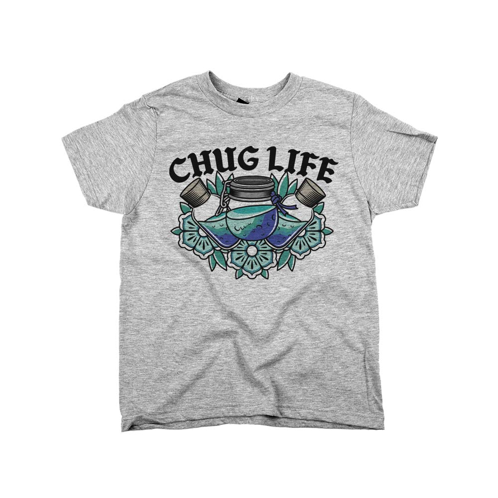 Chug Life'	Shirt Athletic Grey Kids