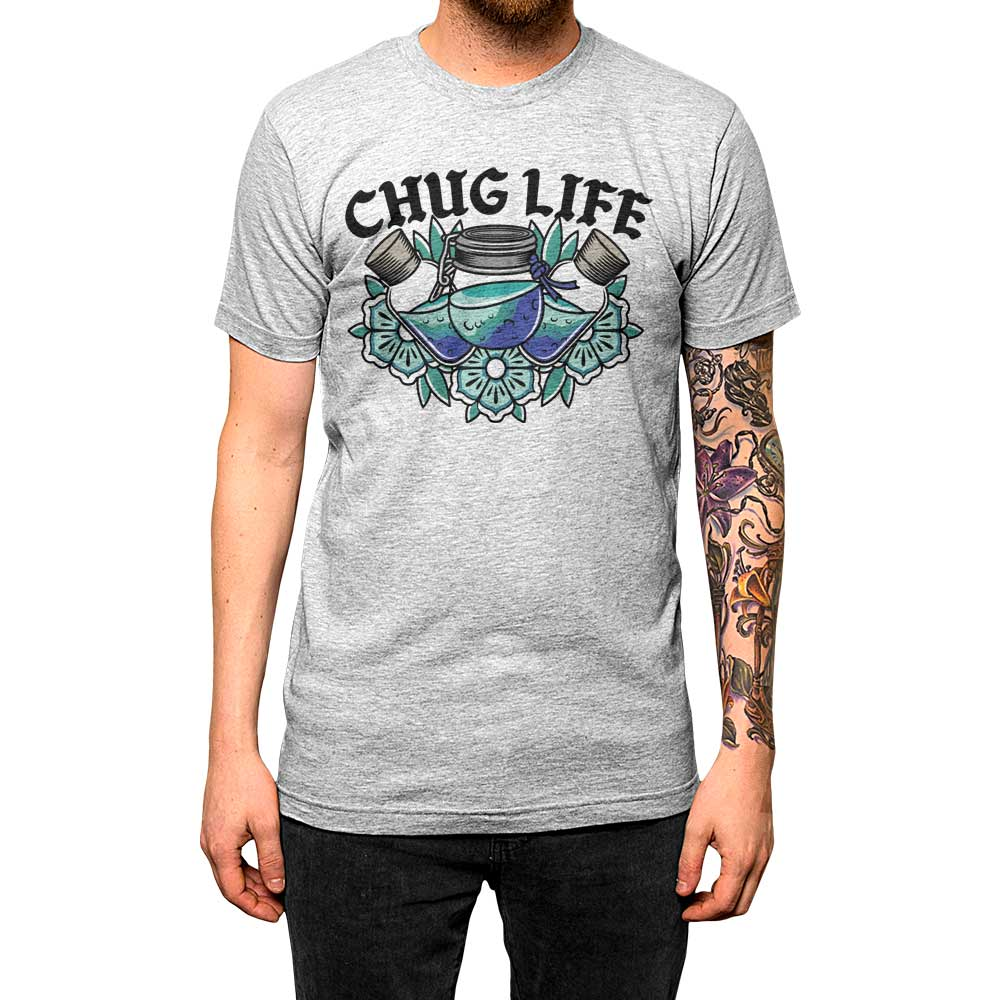 Chug Life'	Shirt Athletic Grey Mens