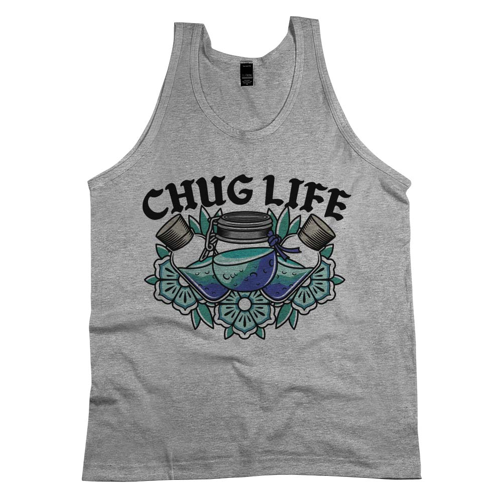 Chug Life'	Tank Top Athletic Grey