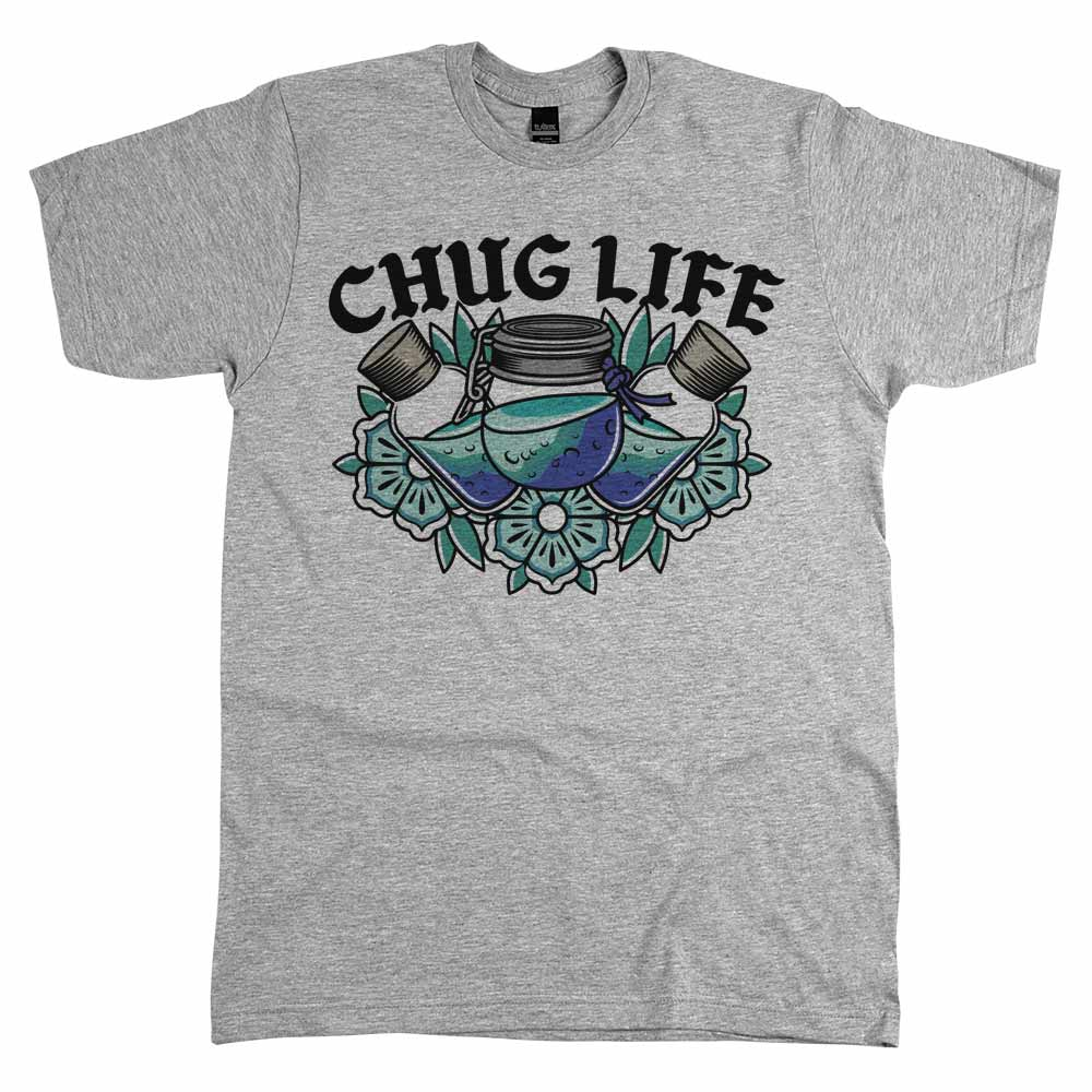 Chug Life'	Shirt Athletic Grey
