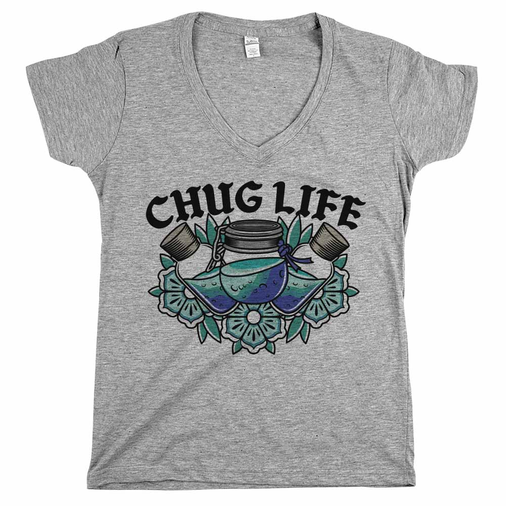 Chug Life'	Shirt Athletic Grey Womens
