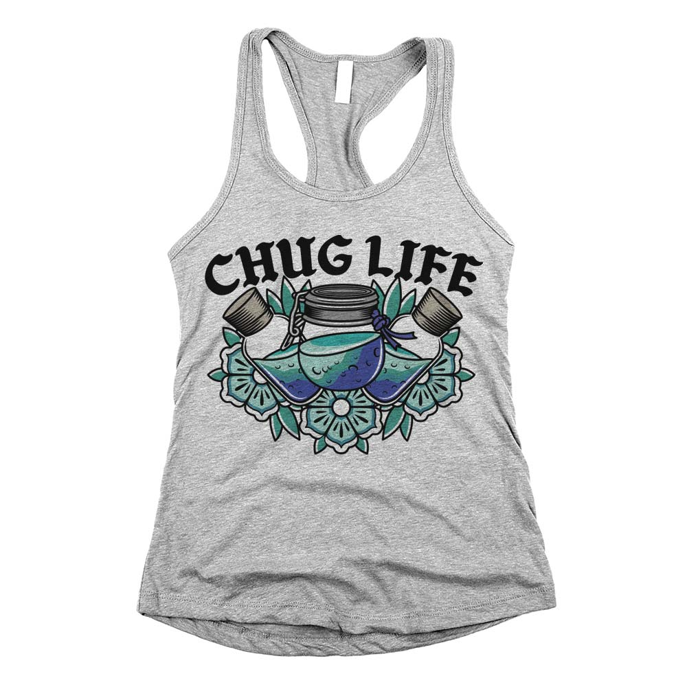 Chug Life'	Racerback Tank Top Athletic Grey Womens