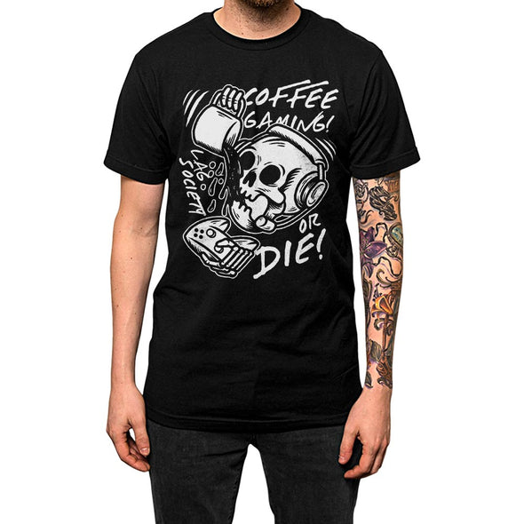 Coffee Gaming Or Die'	Shirt Black Mens