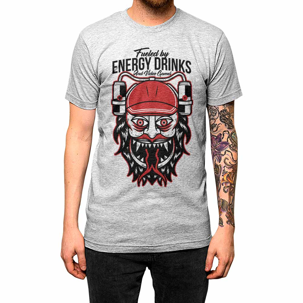 Fueled By Energy Drinks and Gaming'	Shirt Athletic Grey Mens