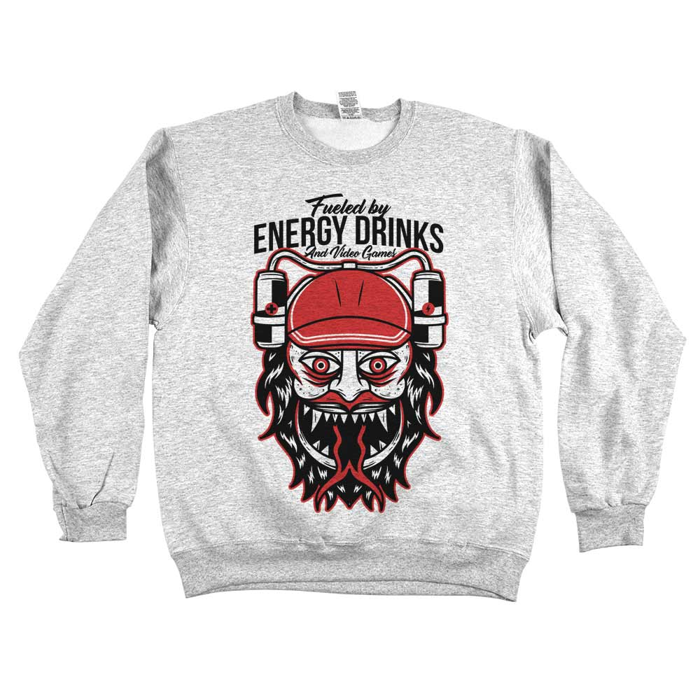 Fueled By Energy Drinks and Gaming'	Sweatshirt Grey