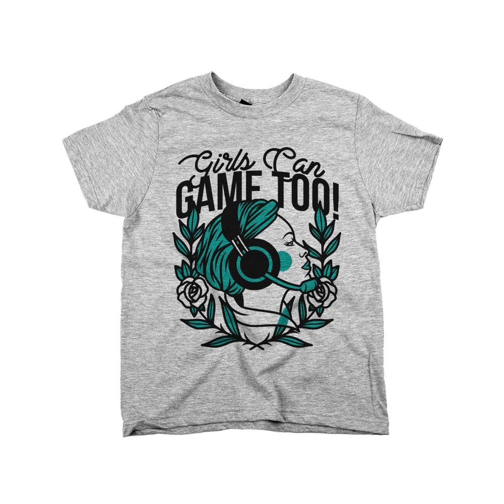 Girls Can Game Too'	Shirt Athletic Grey Kids