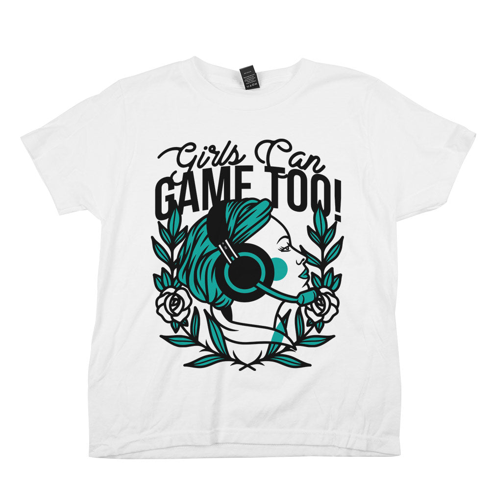 Girls Can Game Too'	Shirt White Youth