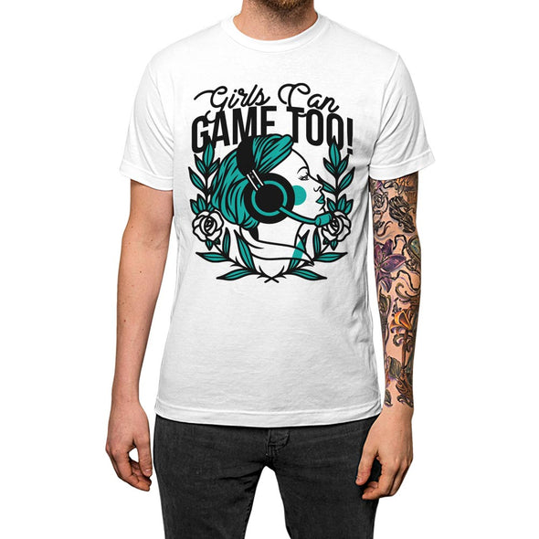 Girls Can Game Too'	T-shirt White Mens