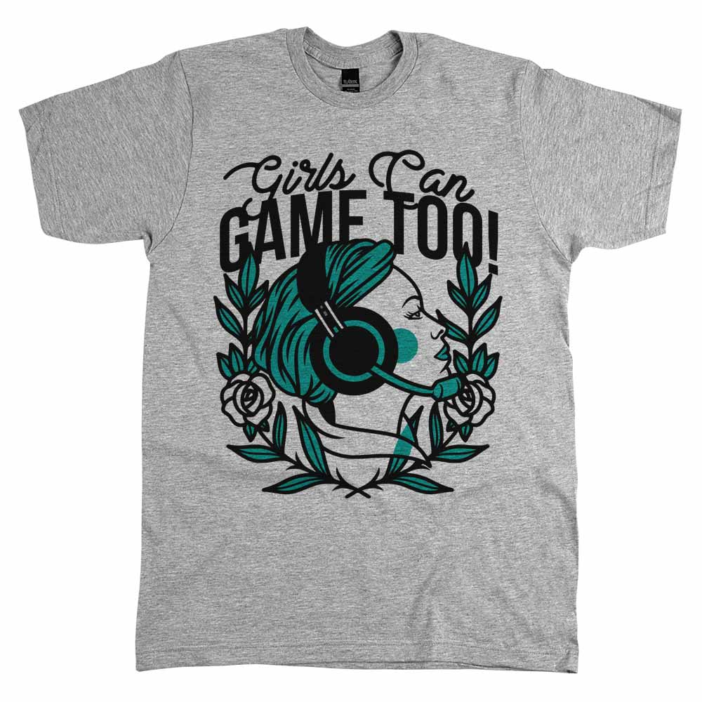 Girls Can Game Too'	Shirt Athletic Grey