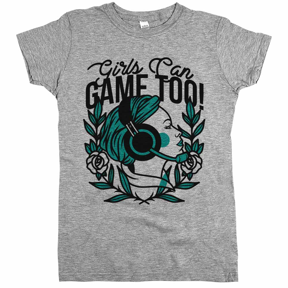 Girls Can Game Too'	Shirt Athletic Grey Womens