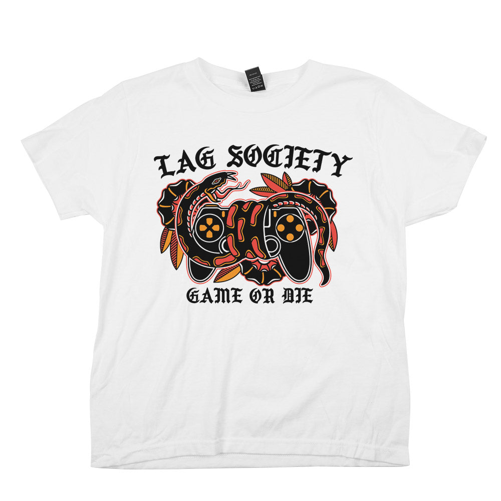 Lag Society Game or Die'	Shirt White Youth