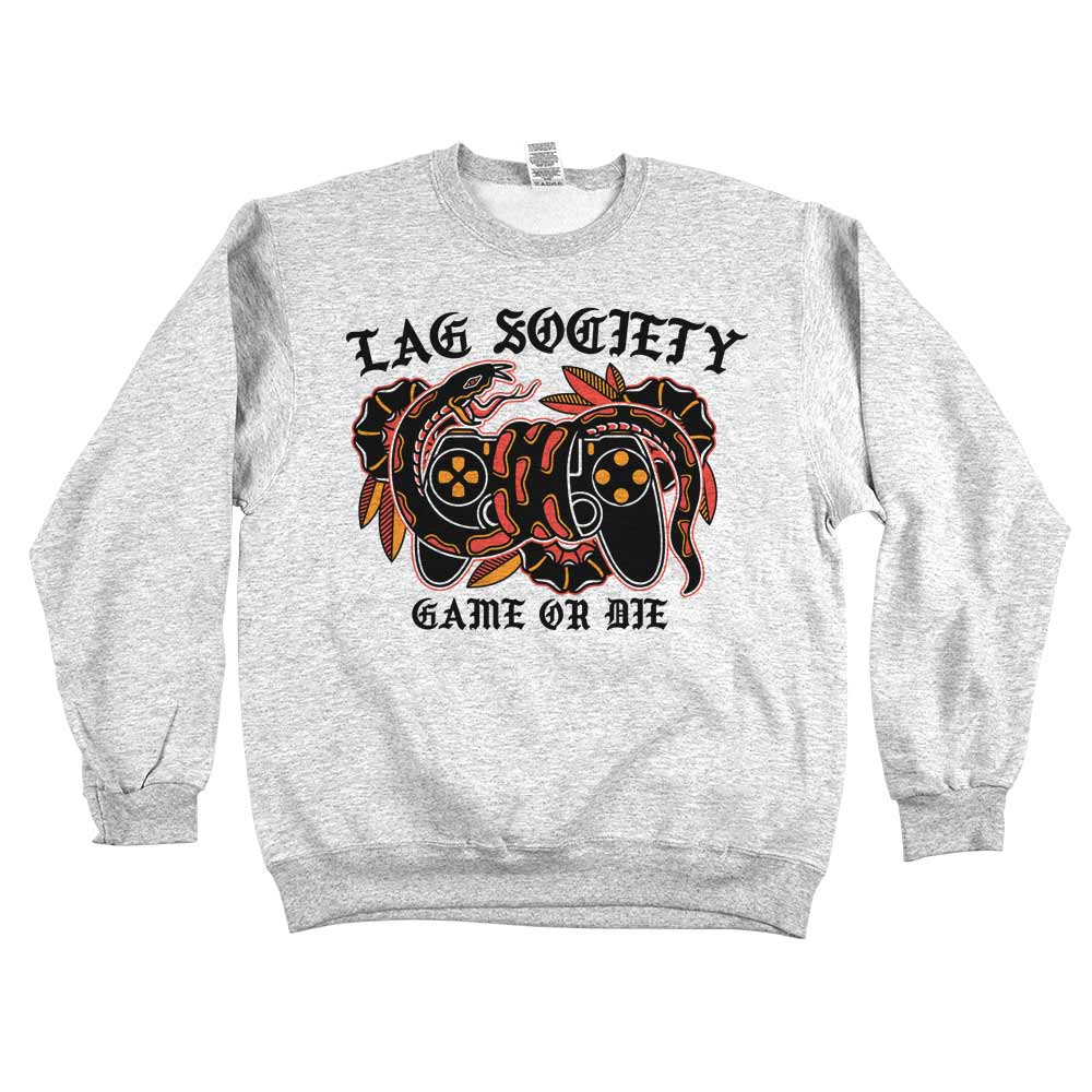 Lag Society Game or Die'	Sweatshirt Grey