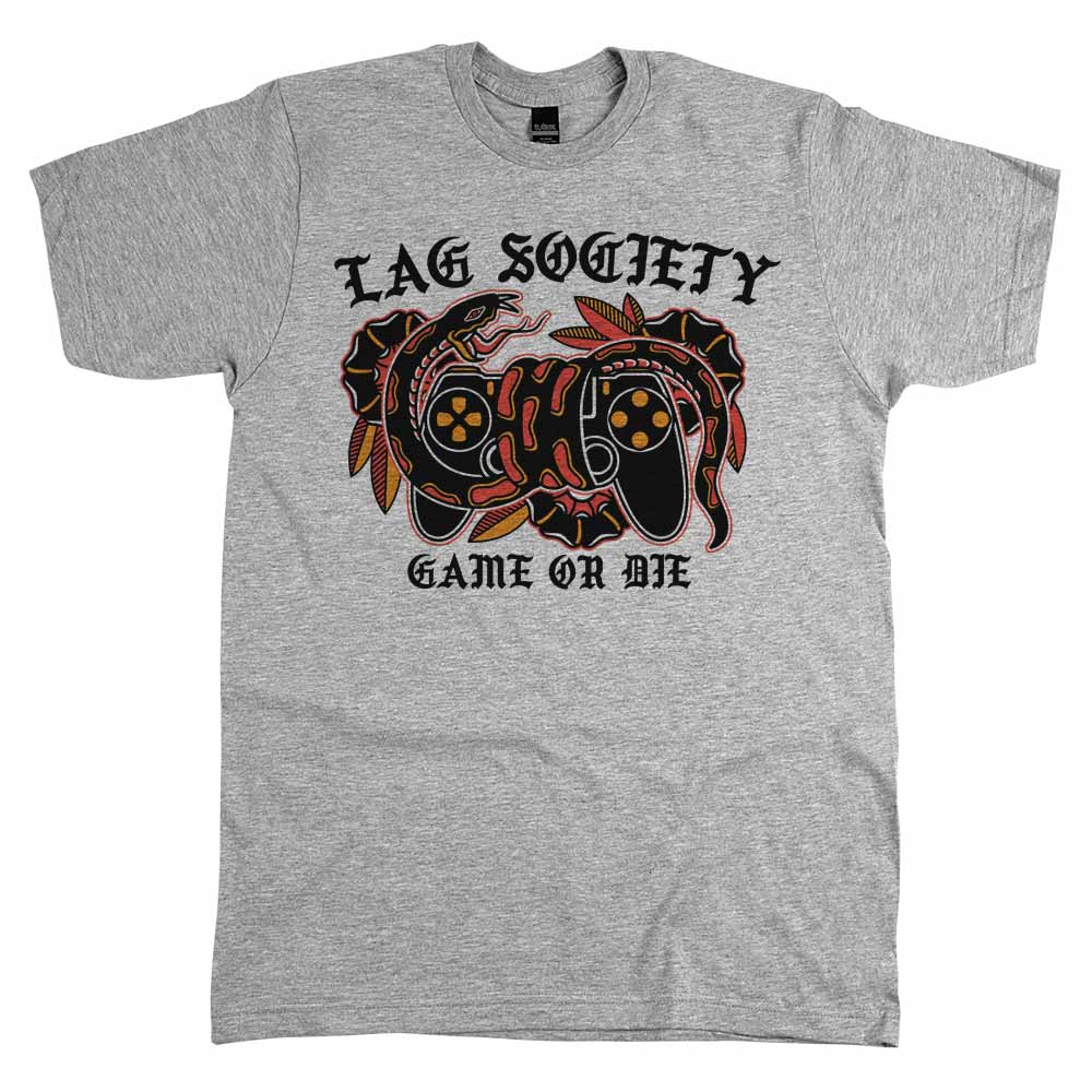 Lag Society Game or Die'	Shirt Athletic Grey