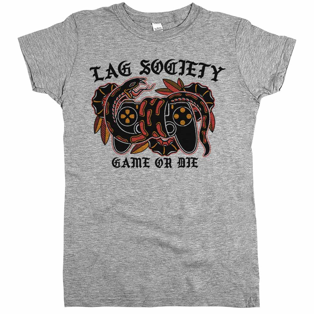 Lag Society Game or Die'	Shirt Athletic Grey Womens