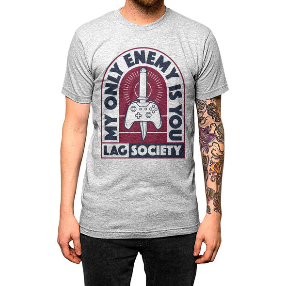 My Only Enemy Is You'	Shirt Athletic Grey Mens