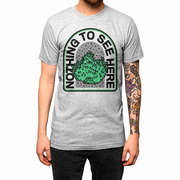 Nothing To See Here'	Shirt Athletic Grey Mens