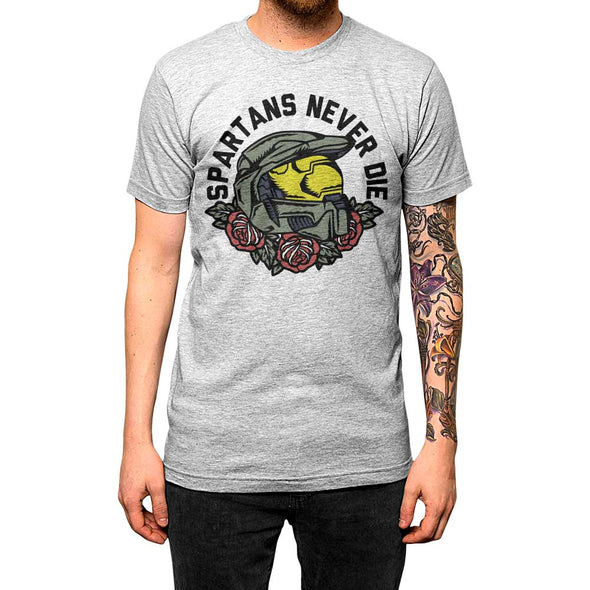 Spartans Never Die'	Shirt Athletic Grey Mens