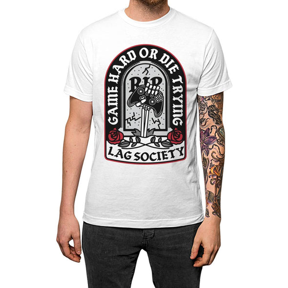 Game Hard or Die Trying'	T-shirt White Mens