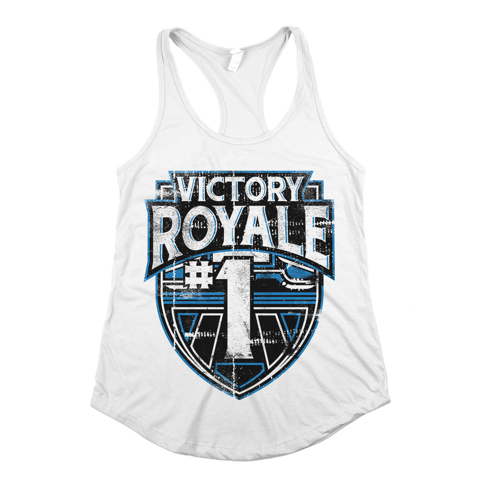 Victory Royale	Racerback Tank Top White Womens