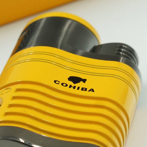 Cohiba Metal Gas Butane 4 Torch Jet Flame Cigar Lighter With Punch Cigarette Windproof Lighters Gift Box