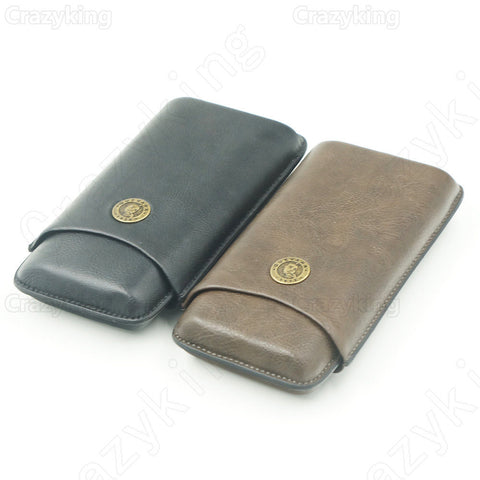 Leather Holder 3 Tube Travel Cigar Case Humidor