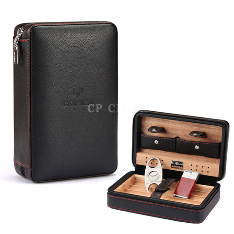 COHIBA Leather Cigar Case Travel Humidor with Lighter Cutter Humidifier