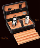 COHIBA Portable Travel Use Wooden Leather Cigar Humidor W/ Cigar Cutter