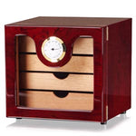COHIBA Black Square Cedar Wood Multiple Cabinet Cigar Humidor Box With Built-in Hygrometer Humidifier