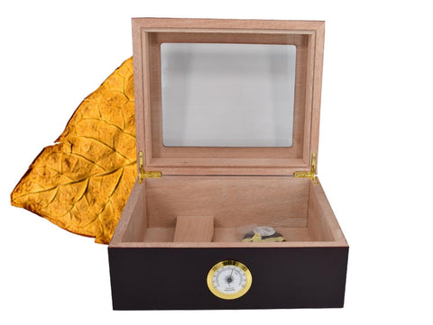 Cedar Wood Lined Cigar Humidor w/ Hygrometer and Humidifier