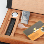 COHIBA Elegant Book Design Cedar Wood Cigar Humidor With Cutter Humidifier Hygrometer